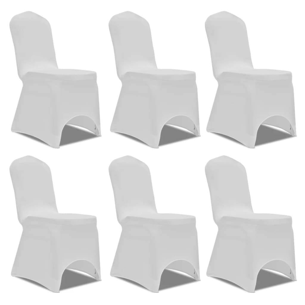 vidaXL Chair Cover Stretch White 6 pcs