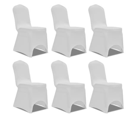 Biele strečové návleky na stoličky, 6 ks