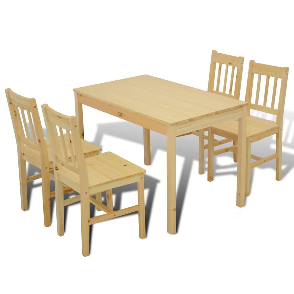 VidaXL Dining Set 5 Piece Pine Wood Natural Kitchen