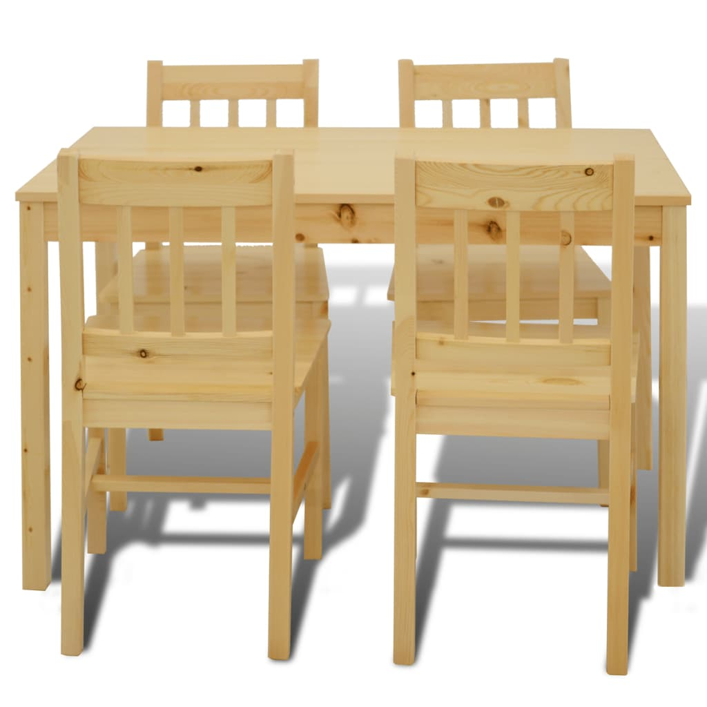 mesa de comedor con 4 sillas de madera color natural tienda online. Black Bedroom Furniture Sets. Home Design Ideas