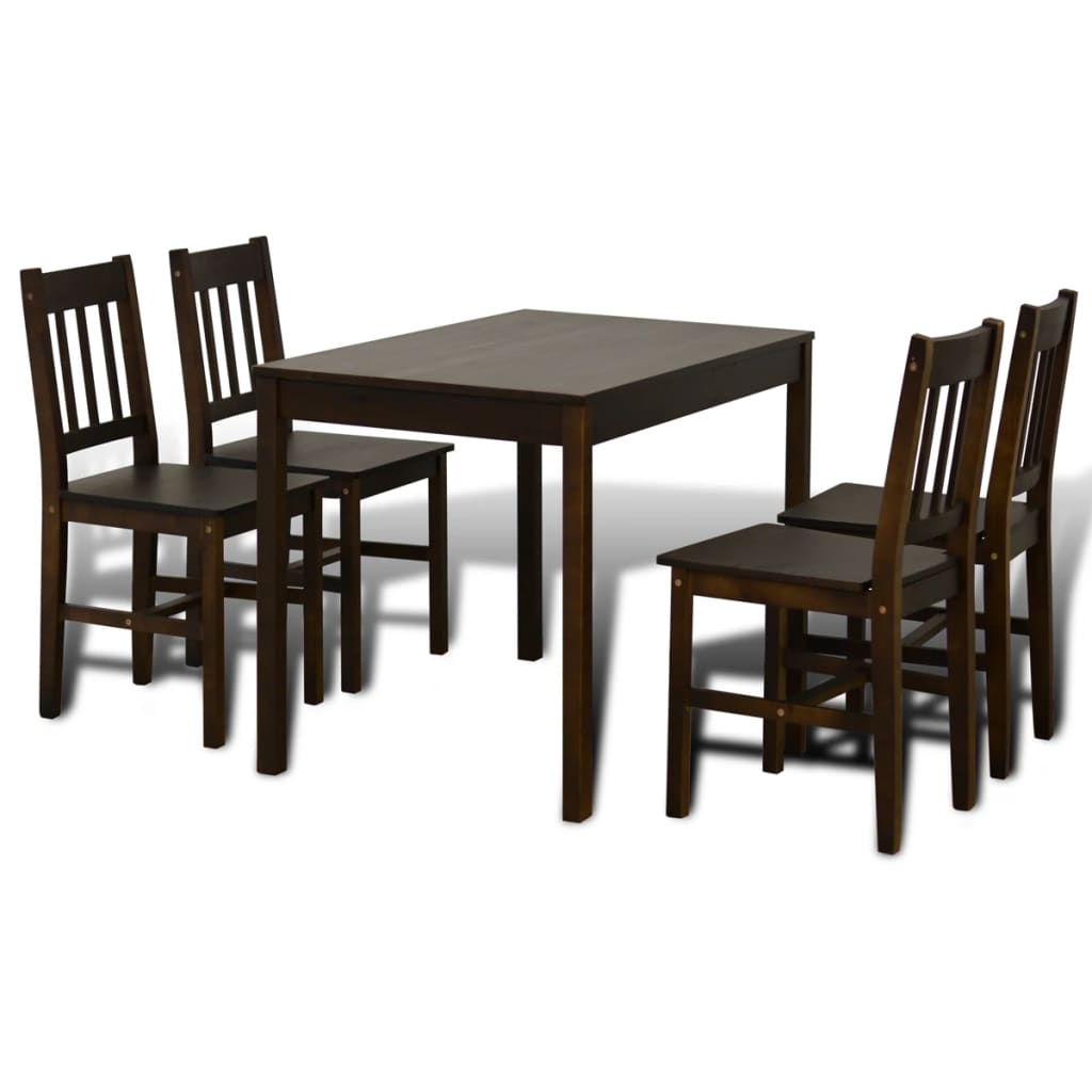 Very Impressive portraiture of vidaXL.co.uk Wooden Dining Table with 4 Chairs Brown with #2A1E16 color and 1024x1024 pixels