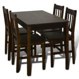 Conjunto Mesa com 4 Cadeiras / Madeira - Marrom