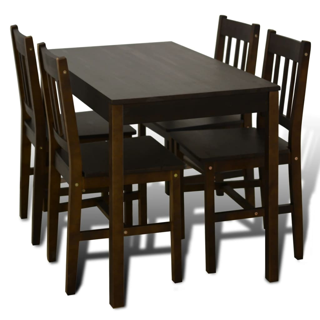 Acheter table manger avec 4 chaises en bois brun pas for Table a manger 4 chaises pas cher