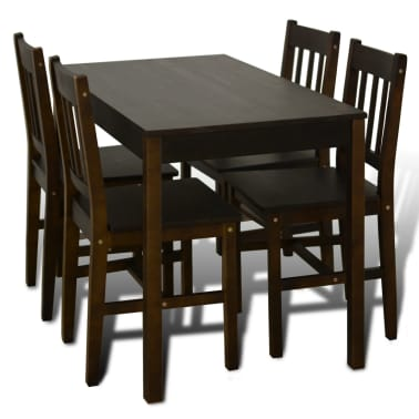 Wooden Dining Table with 4 Chairs Brown[2/8]