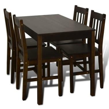 Articoli per tavolo con 4 sedie in legno marrone - Sedie per tavolo in legno ...
