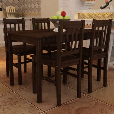 Wooden Dining Table with 4 Chairs Brown[1/8]