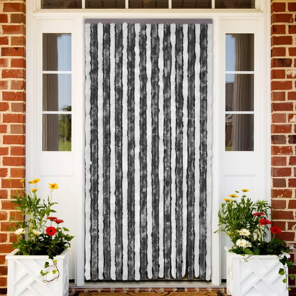 acheter rideau de porte chenille gris et blanc 100 x 220. Black Bedroom Furniture Sets. Home Design Ideas