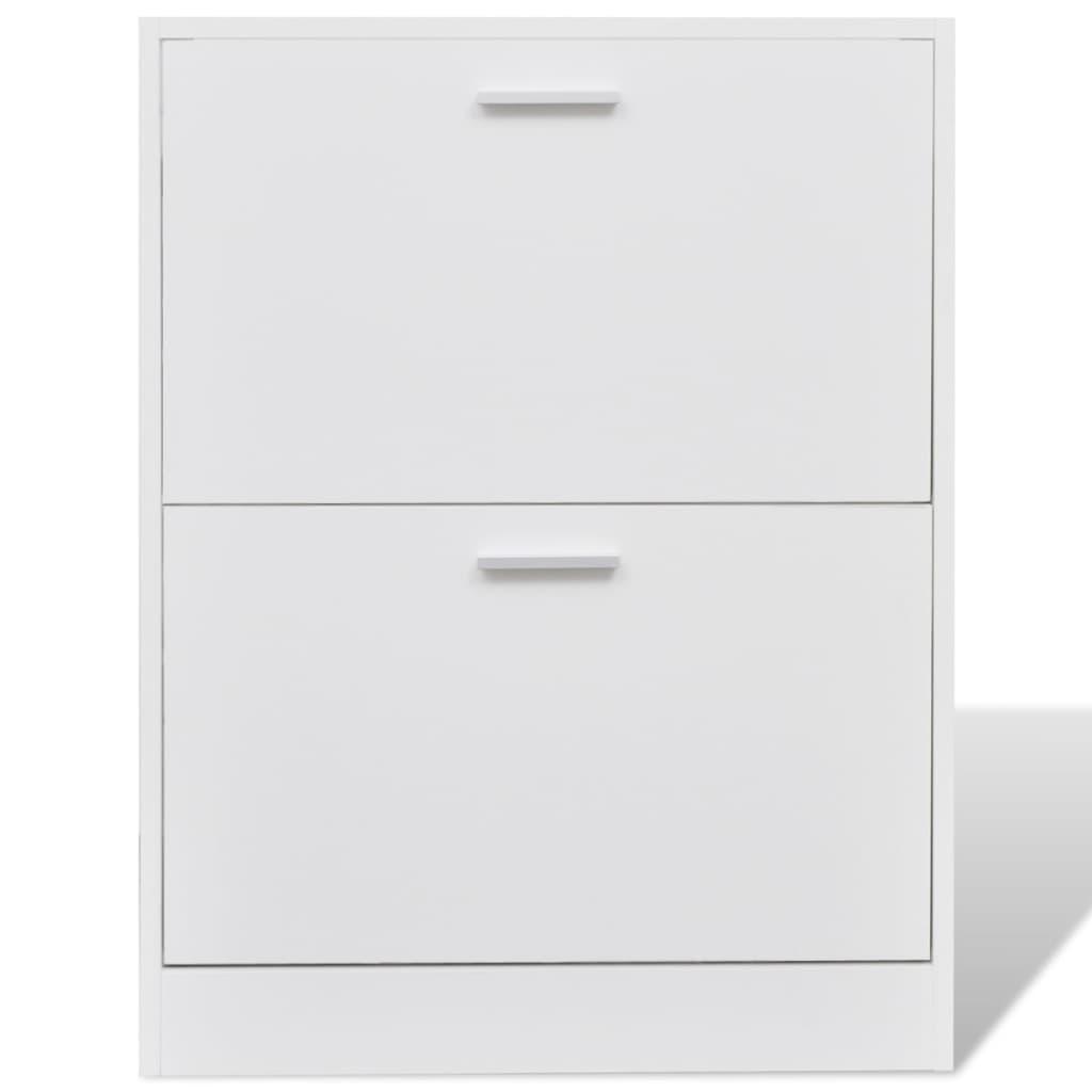 Zapatero de madera blanco con 2 compartimentos for Zapatero madera blanco