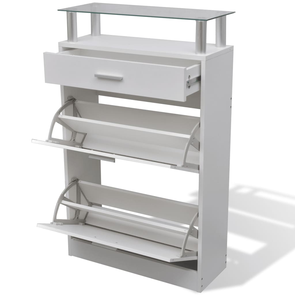 Acheter vidaxl meuble chaussures avec tiroir et plateau en verre bois blanc pas cher - Meuble a chaussure avec tiroir ...