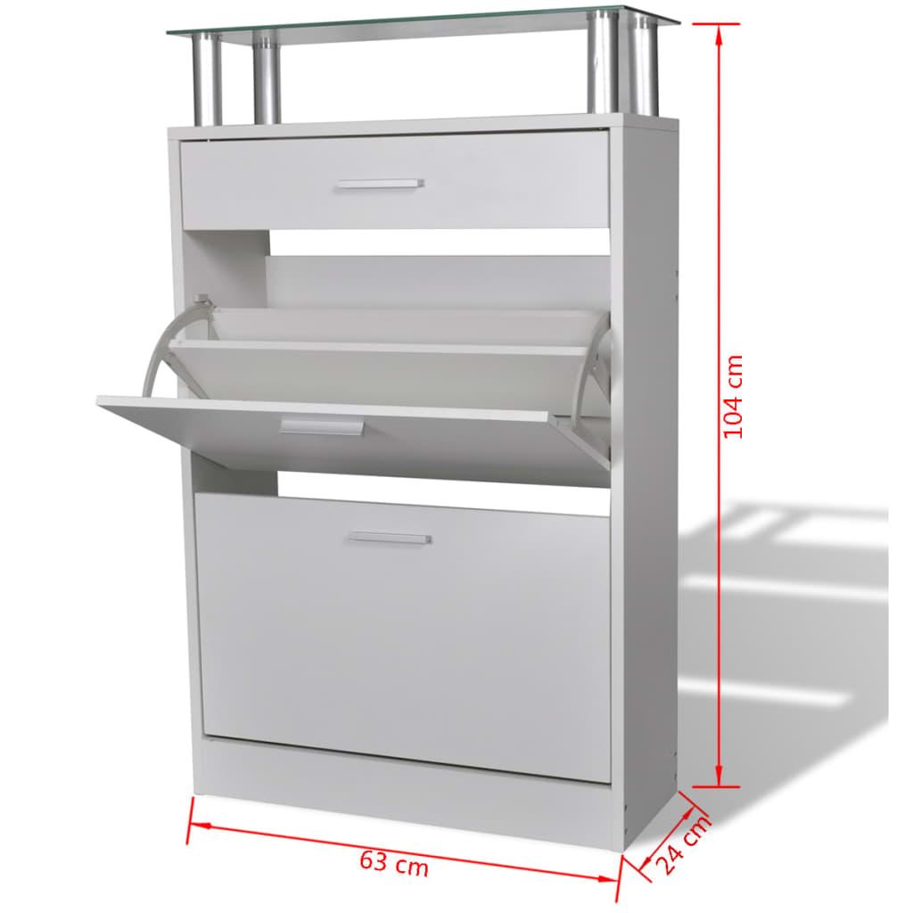 vidaxl schuhschrank mit schubfach und oberem glasregal. Black Bedroom Furniture Sets. Home Design Ideas