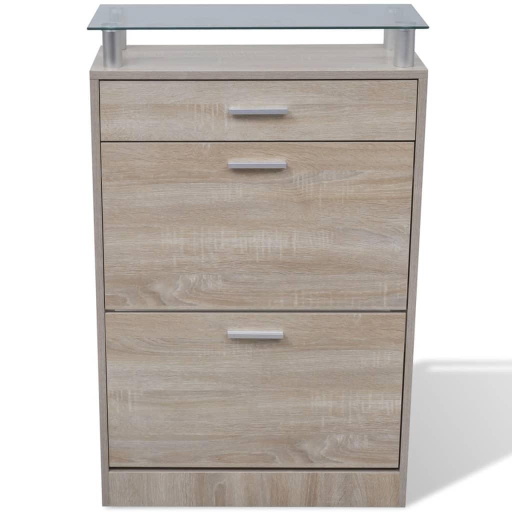 vidaXL se Skohylla med ek utseende och låda samt glashylla