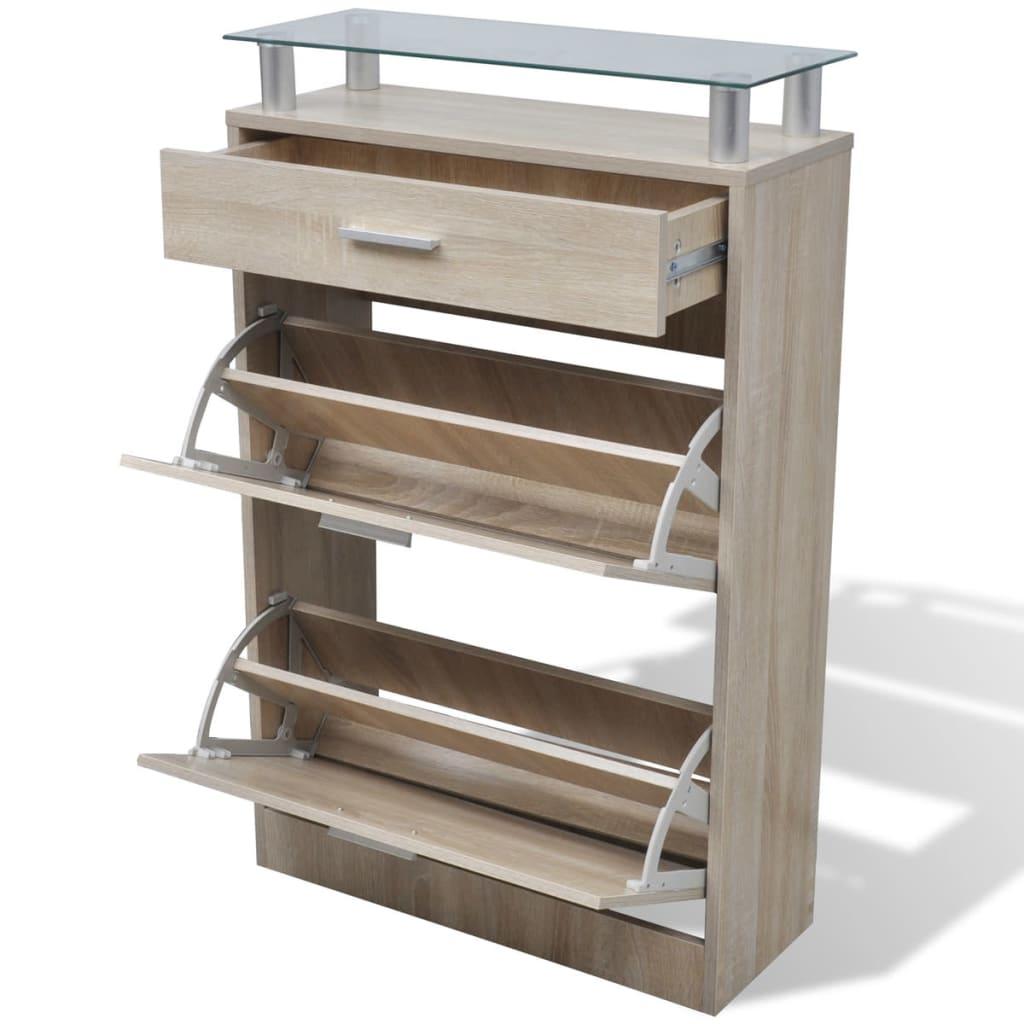 Zapatero de madera roble con caj n y estante de vidrio for Zapateros de madera de roble
