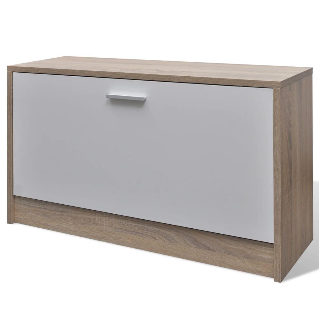 Vidaxl set 3 en 1 zapatero de madera color roble y blanco for Bricolaje zapatero madera