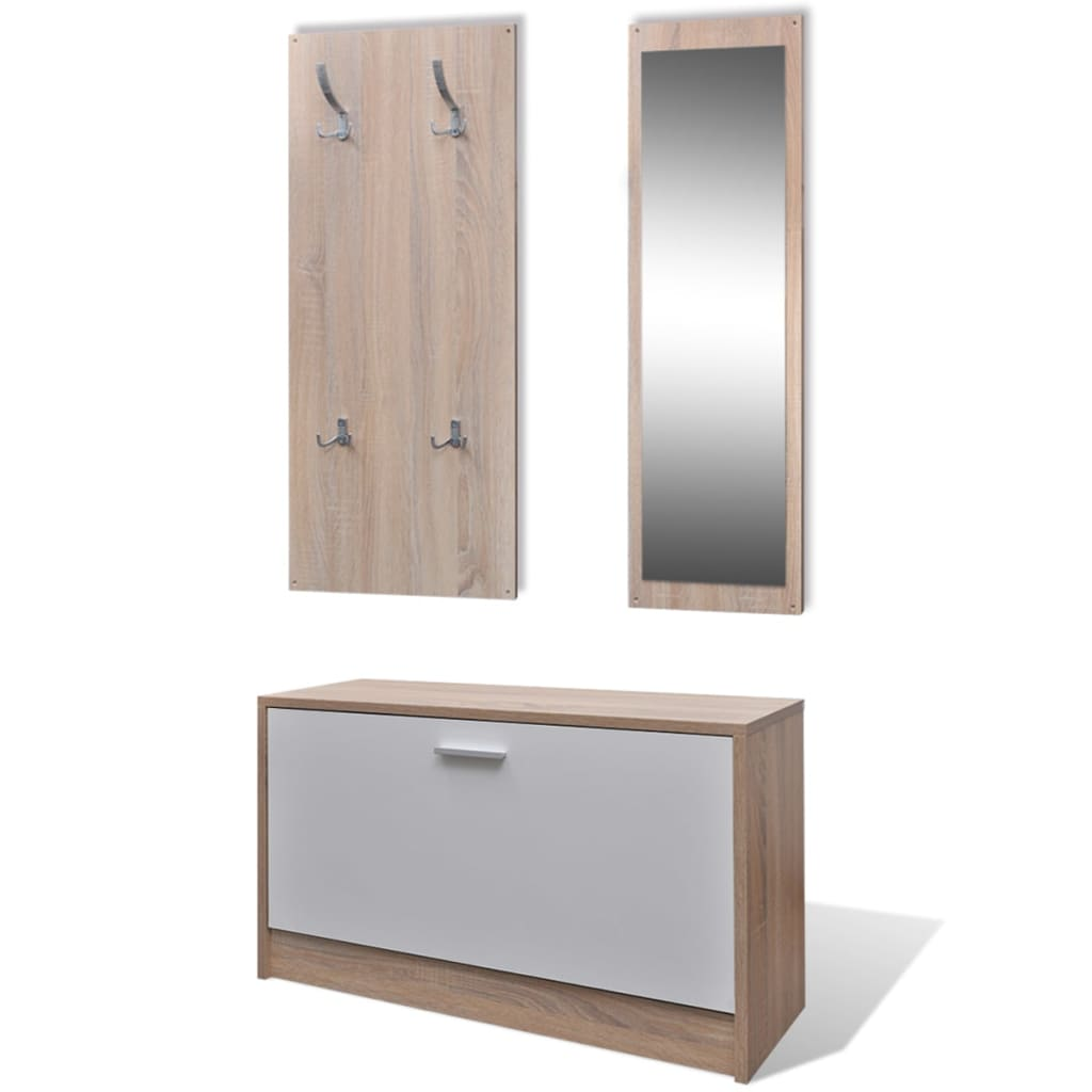 la boutique en ligne vestiaire d 39 entr e 3 l ments en bois blanc et aspect ch ne. Black Bedroom Furniture Sets. Home Design Ideas