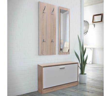 Vidaxl set 3 en 1 zapatero de madera color roble y blanco for Zapatero esquinero