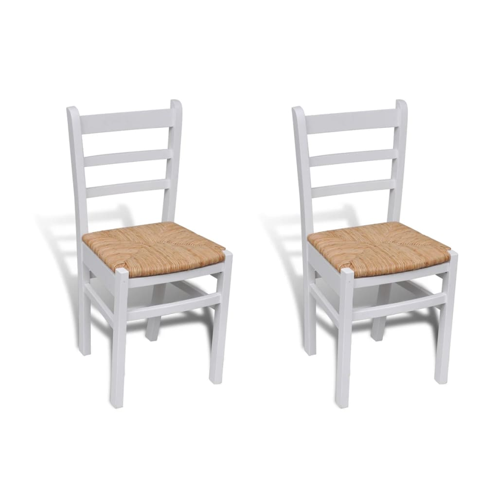 2 pcs white paint wooden dinning chair for Chaise salle a manger ikea