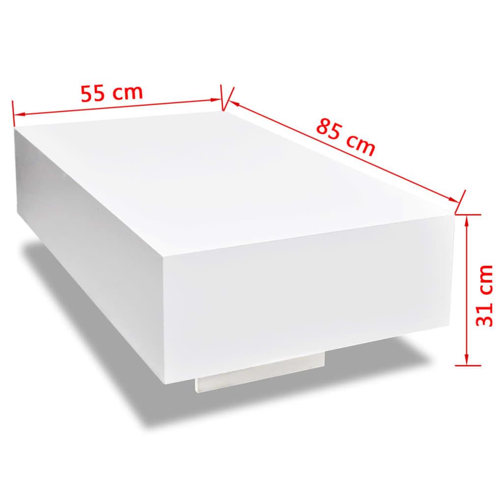 Wei er hochglanz wohnzimmertisch 85 cm g nstig kaufen for Weisser wohnzimmertisch