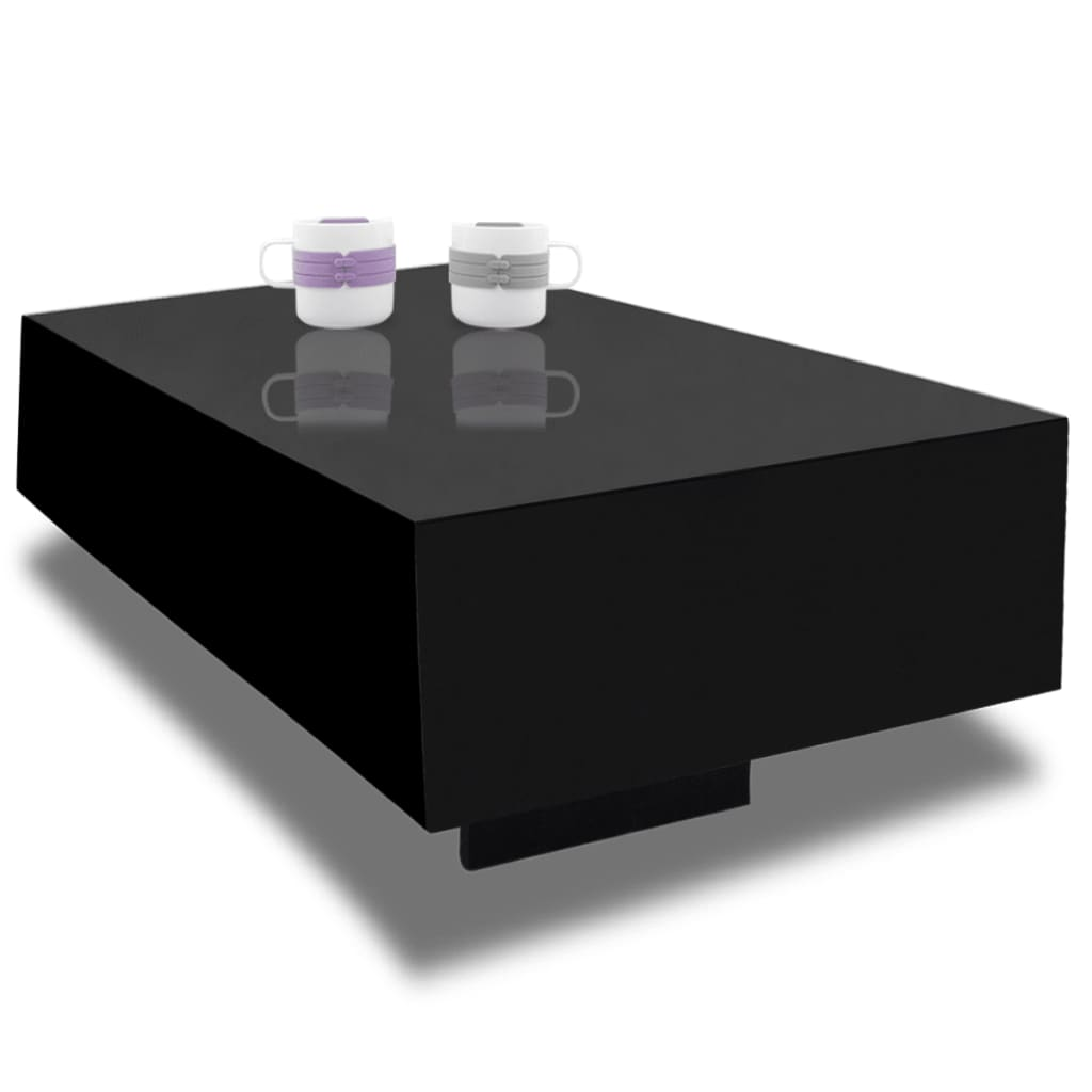 Black high gloss coffee table 85 cm - Petite table basse noire ...