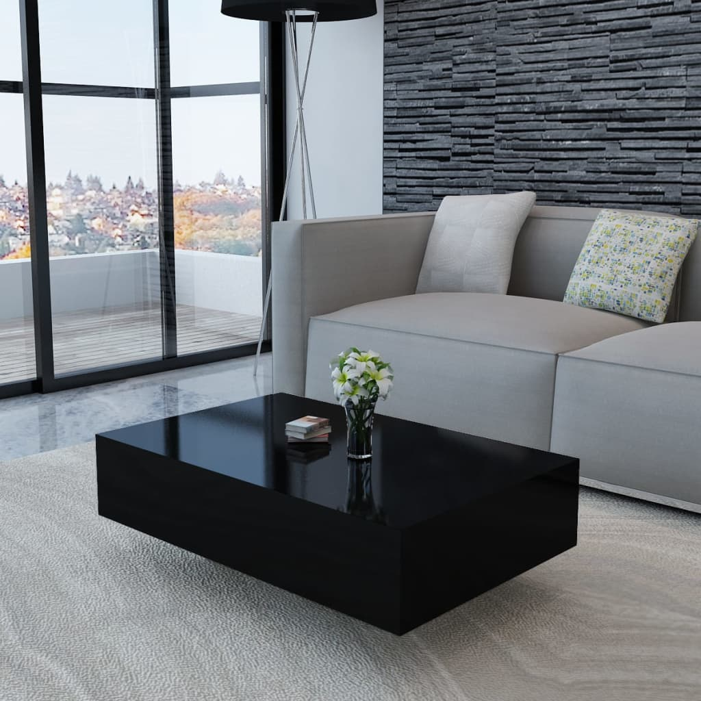 Black high gloss coffee table 85 cm for Table largeur 85 cm