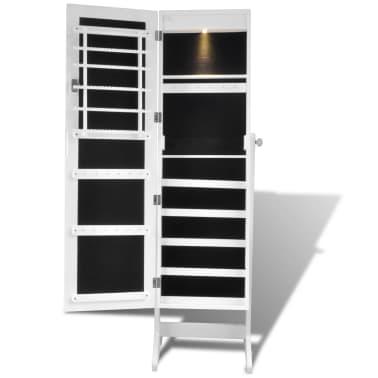 Stojeći ormarić za nakit s LED svjetlom i ogledalom, Bijeli[4/7]