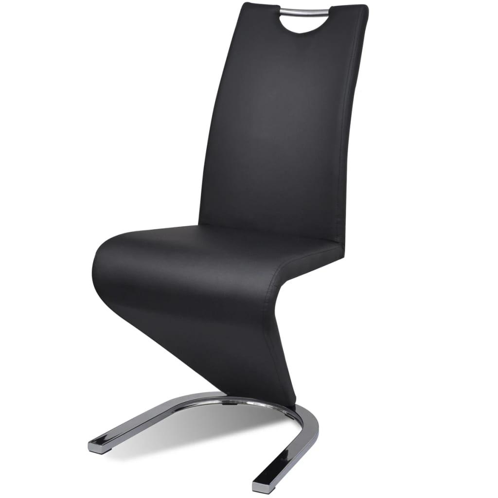 2 sur 9 vidaxl 2x chaise simili cuir cantilever pieds forme de u noir chaise manger - Chaise Simili Cuir