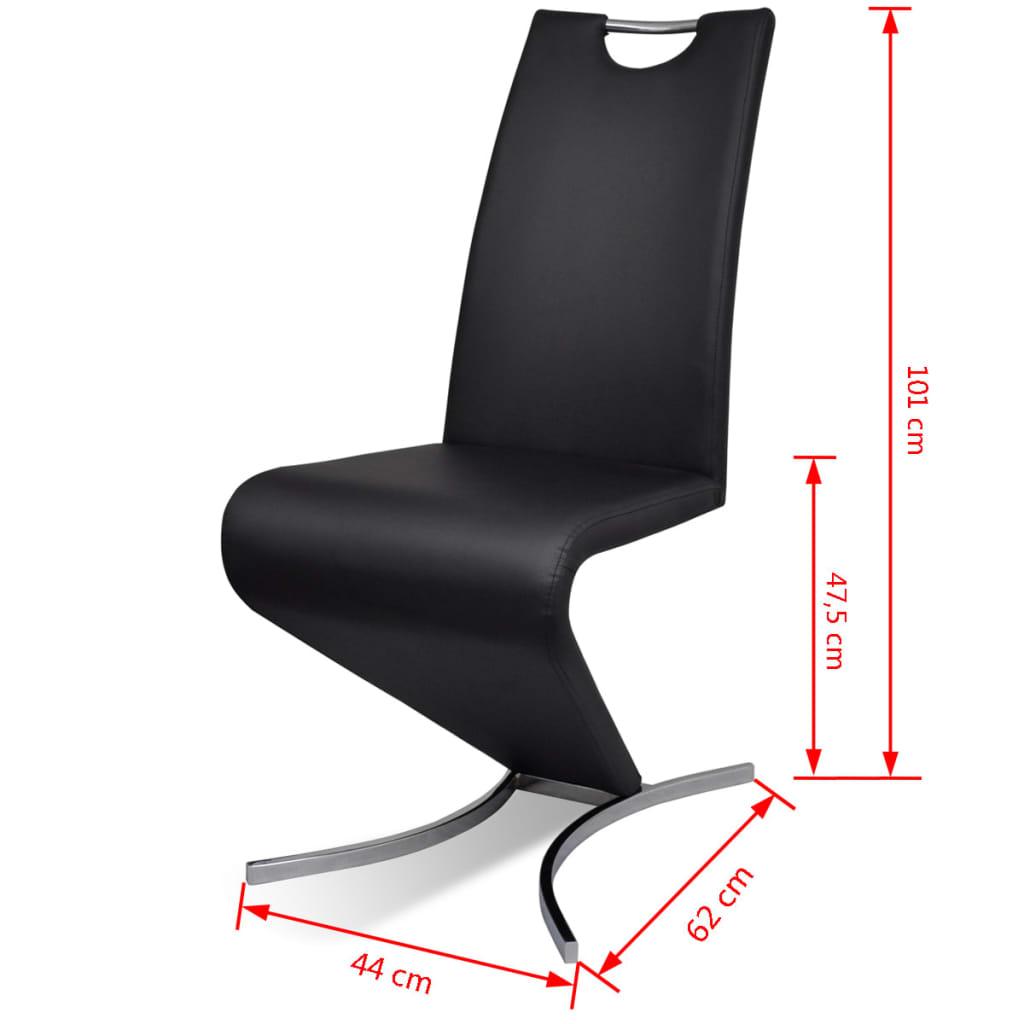 silla de comedor cantilever h de cuero artificial negras 2 unidades. Black Bedroom Furniture Sets. Home Design Ideas