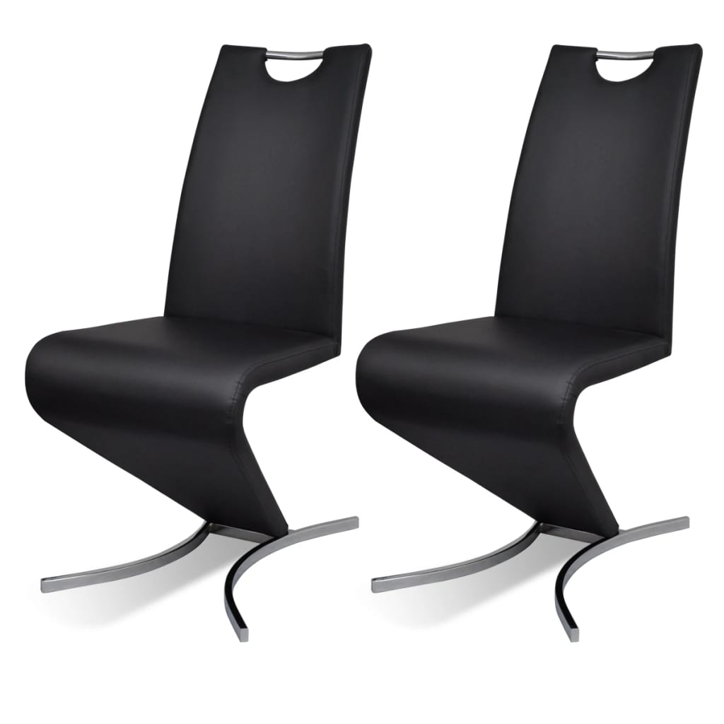 la boutique en ligne chaise en simili cuir cantilever avec pieds en forme de h noir 2 pcs. Black Bedroom Furniture Sets. Home Design Ideas