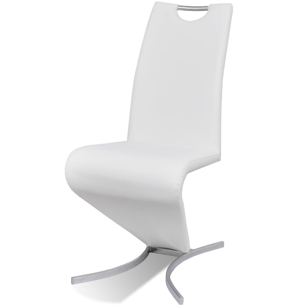Vidaxl 2x sillas de comedor moderna voladizas forma de h for Sillas comedor blancas modernas