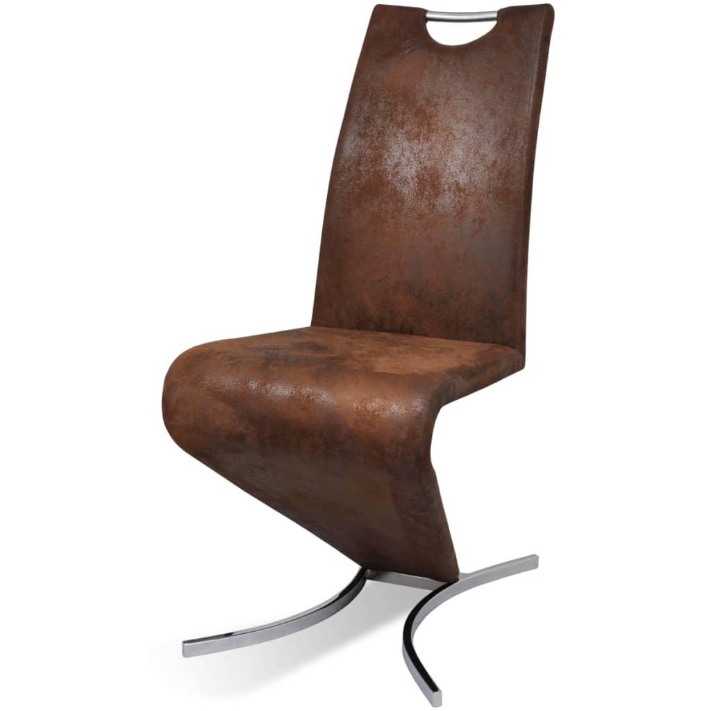 acheter chaise en simili cuir cantilever avec pieds en forme de h brun 2 pcs pas cher. Black Bedroom Furniture Sets. Home Design Ideas