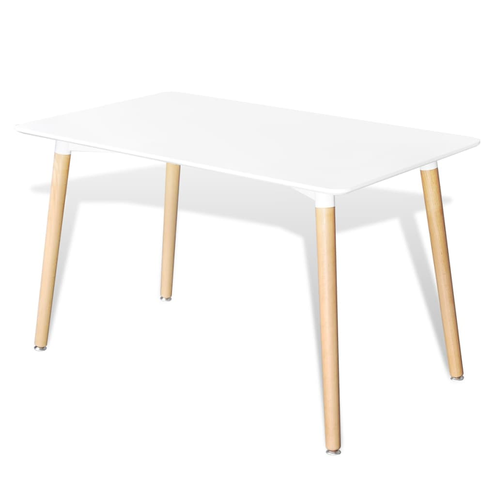Matte white rectangular dining table for Table ronde rallonge scandinave