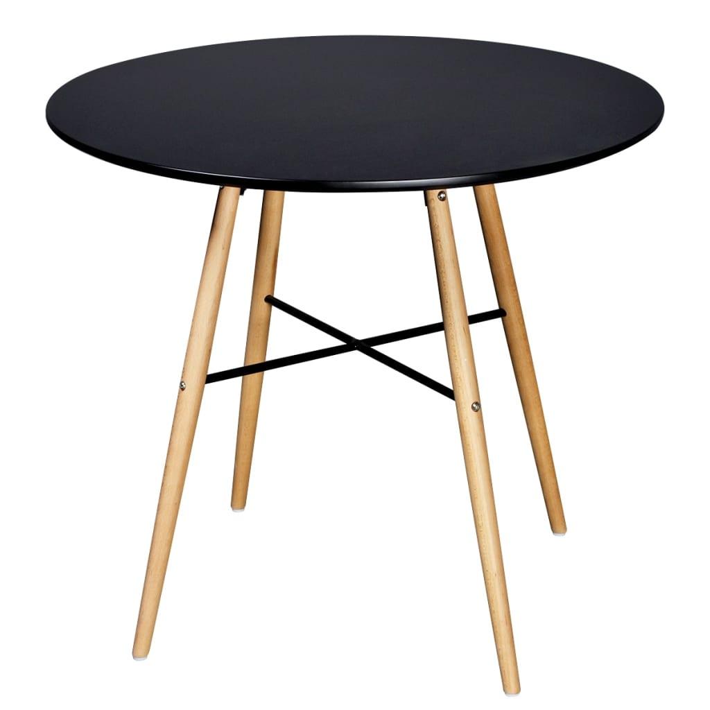 Salle manger blanche noire avec table ronde et chaises for Chaises salle a manger avec accoudoirs