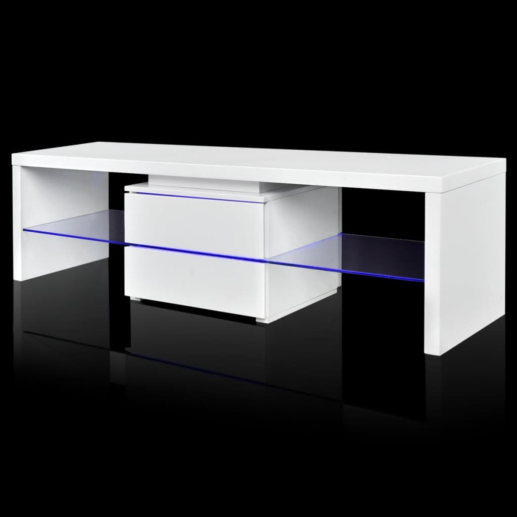 der tv tisch hochglanz wei mit leds 150 cm online shop. Black Bedroom Furniture Sets. Home Design Ideas