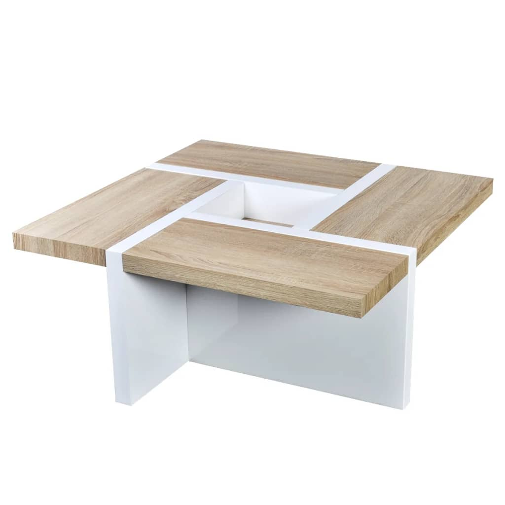 Oak white high gloss coffee table for Table basse blanc bois