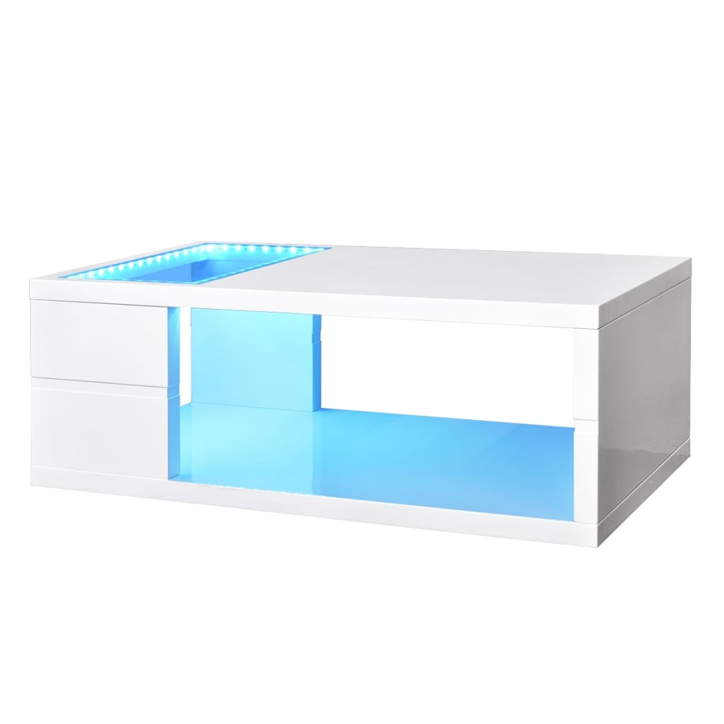 la boutique en ligne table basse led blanc brillant 41 5 cm. Black Bedroom Furniture Sets. Home Design Ideas
