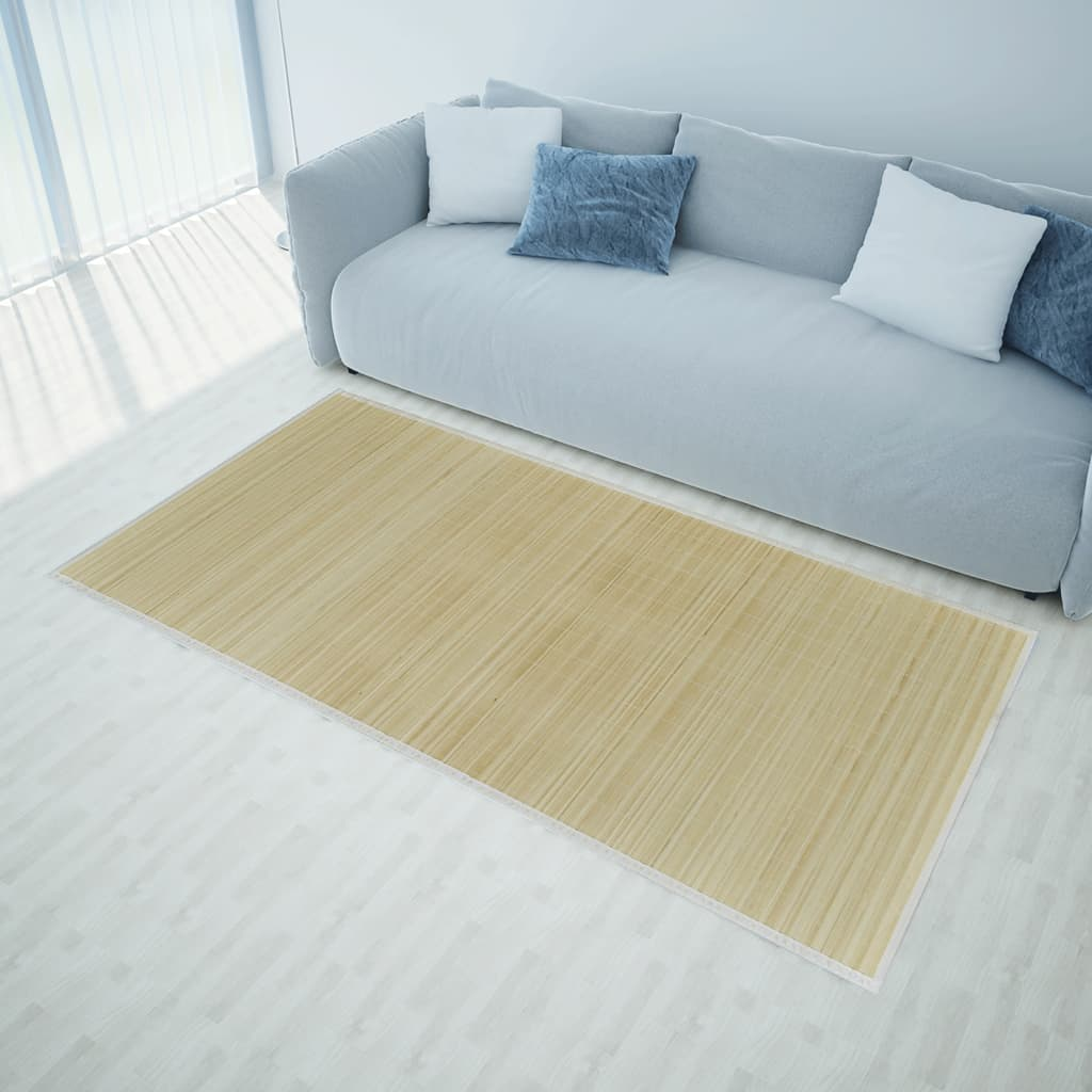 acheter tapis en bambou naturel latte rectangulaire 150 x 200 cm pas cher. Black Bedroom Furniture Sets. Home Design Ideas