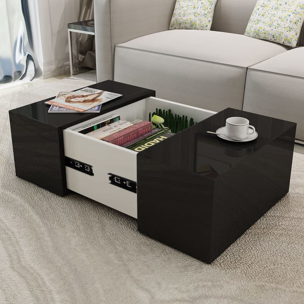 Coffee table high gloss black - Couchtisch 60x60 weiay ...