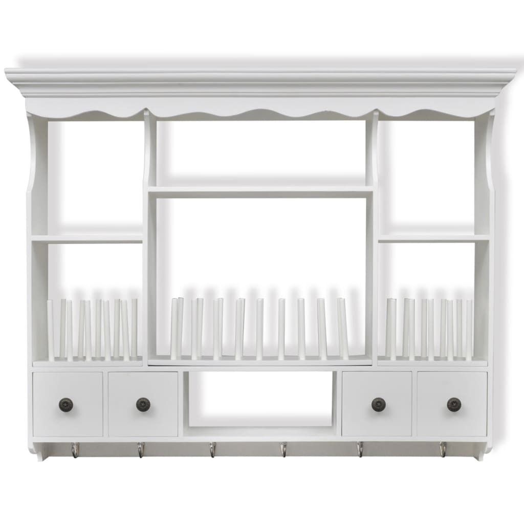 White Wooden Kitchen Wall Cabinet Cupboard Storage Shelf ...
