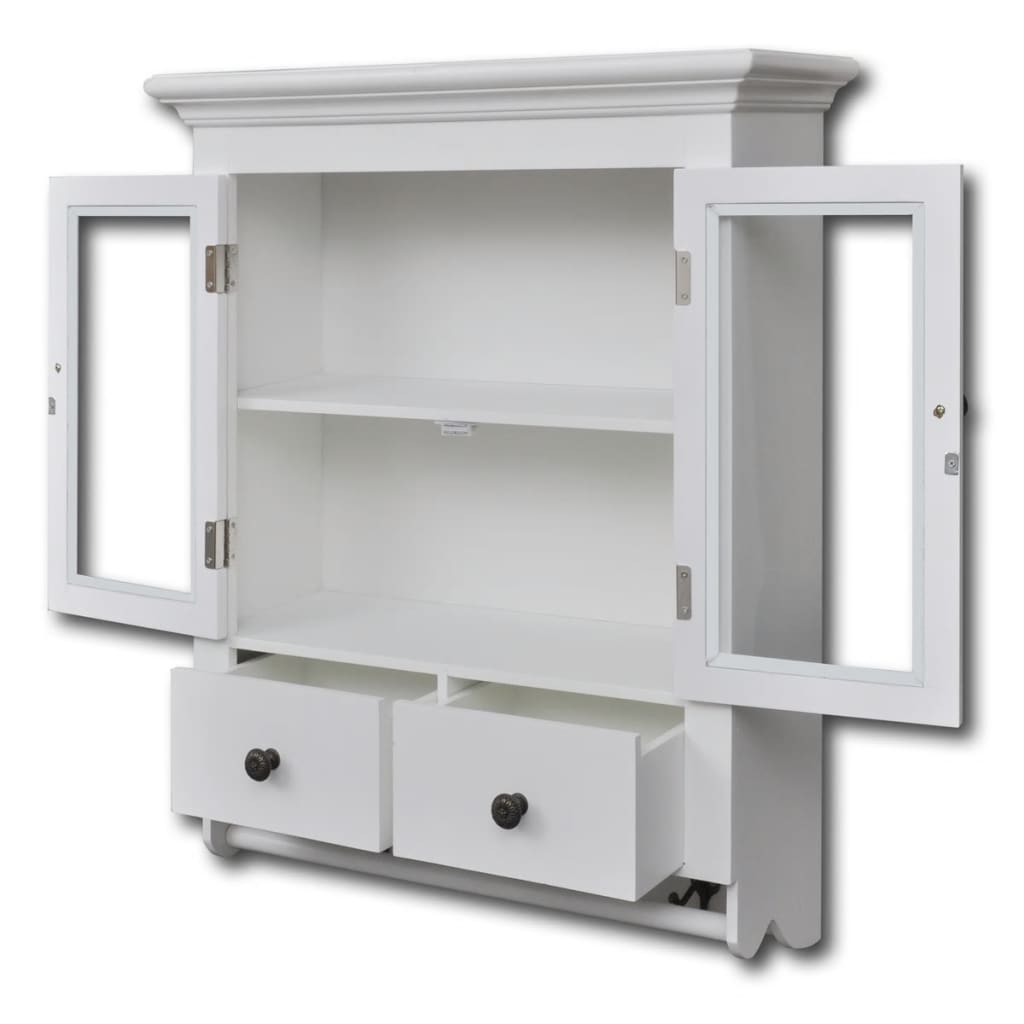 White wooden kitchen wall cabinet with glass door vidaxl for Kitchen wall cabinets