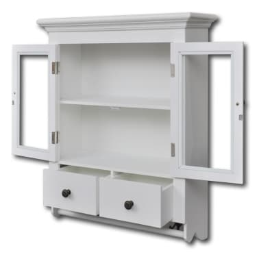 White Wooden Kitchen Wall Cabinet with Glass Door | vidaXL.com