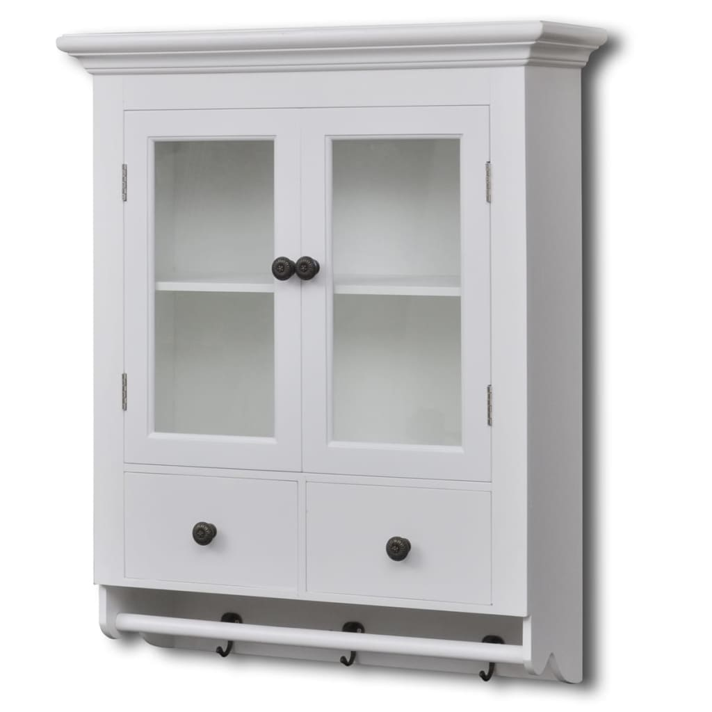 White wooden kitchen wall cabinet with glass door for Wooden kitchen cupboards
