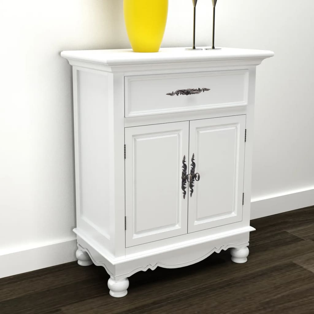 Very Impressive portraiture of White Wooden Cabinet 2 Doors 1 Drawer vidaXL.com with #BEA90D color and 1024x1024 pixels
