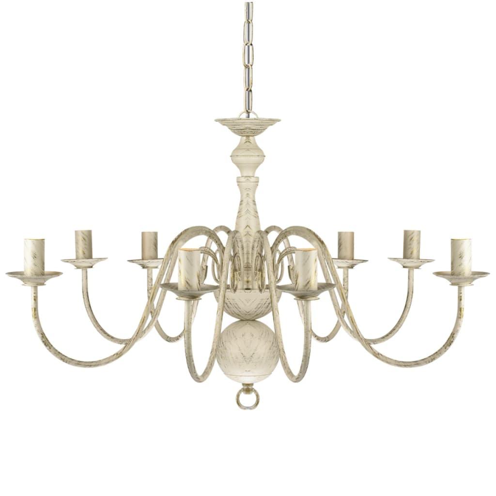 vidaXL-Chandelier-8xE14-Bulbs-Antique-White-Metal-Pendant-Lamp-Ceiling-Light