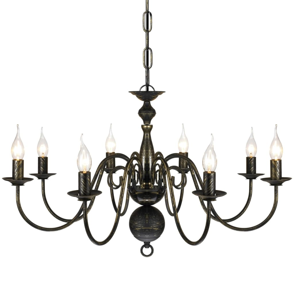 La boutique en ligne lustre en m tal noir antique 8 x e14 for Lustre en solde