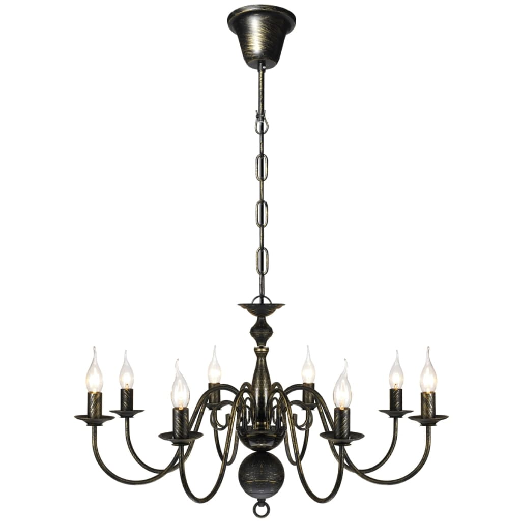 Metall-Kronleuchter-Pendelleuchte-Deckenleuchte-Luester-Lampe-Antik-8-flammig