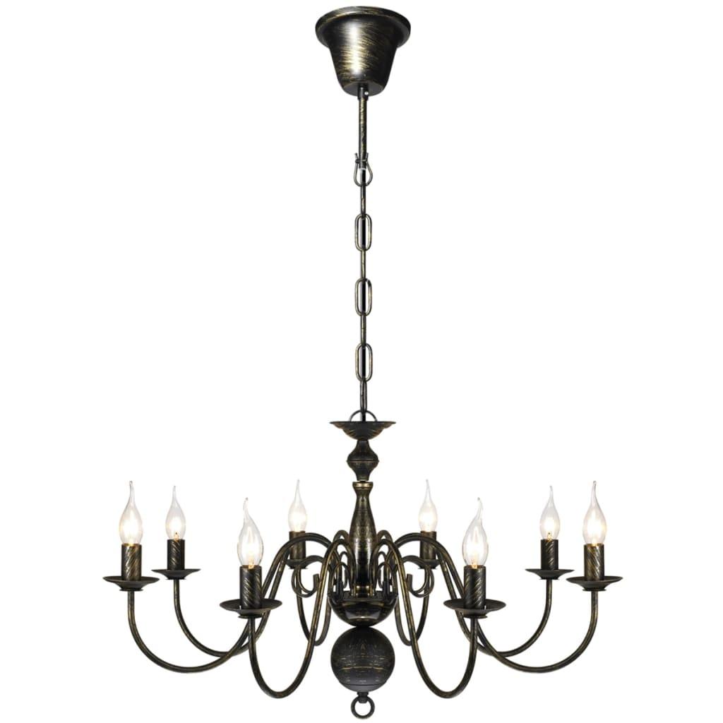 metall kronleuchter pendelleuchte deckenleuchte l ster lampe antik 8 flammig ebay. Black Bedroom Furniture Sets. Home Design Ideas