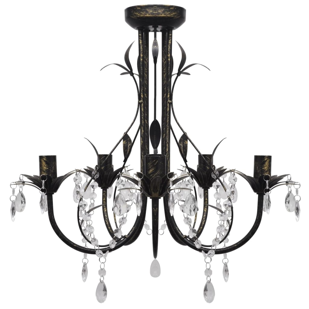 acheter lustre m tal noir style art nouveau perles. Black Bedroom Furniture Sets. Home Design Ideas
