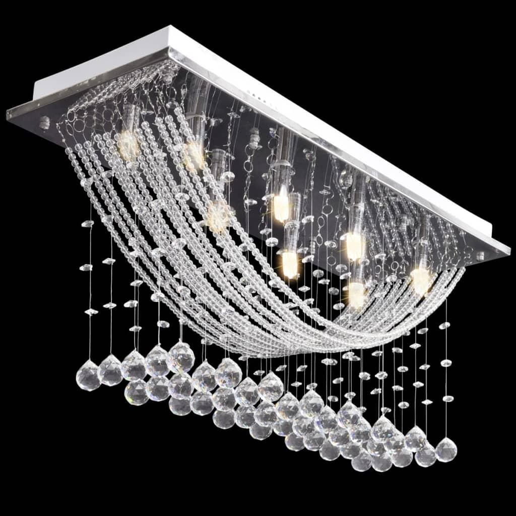 vidaXL-Ceiling-Lamp-White-with-Glittering-Glass-Crystal-Beads-8xG9-29cm-Light