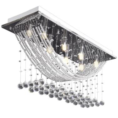 Fehér Mennyezeti Lámpa, Csillogó Üveg Kristály Gyöngyök 8 x G9 29 cm[5/11]