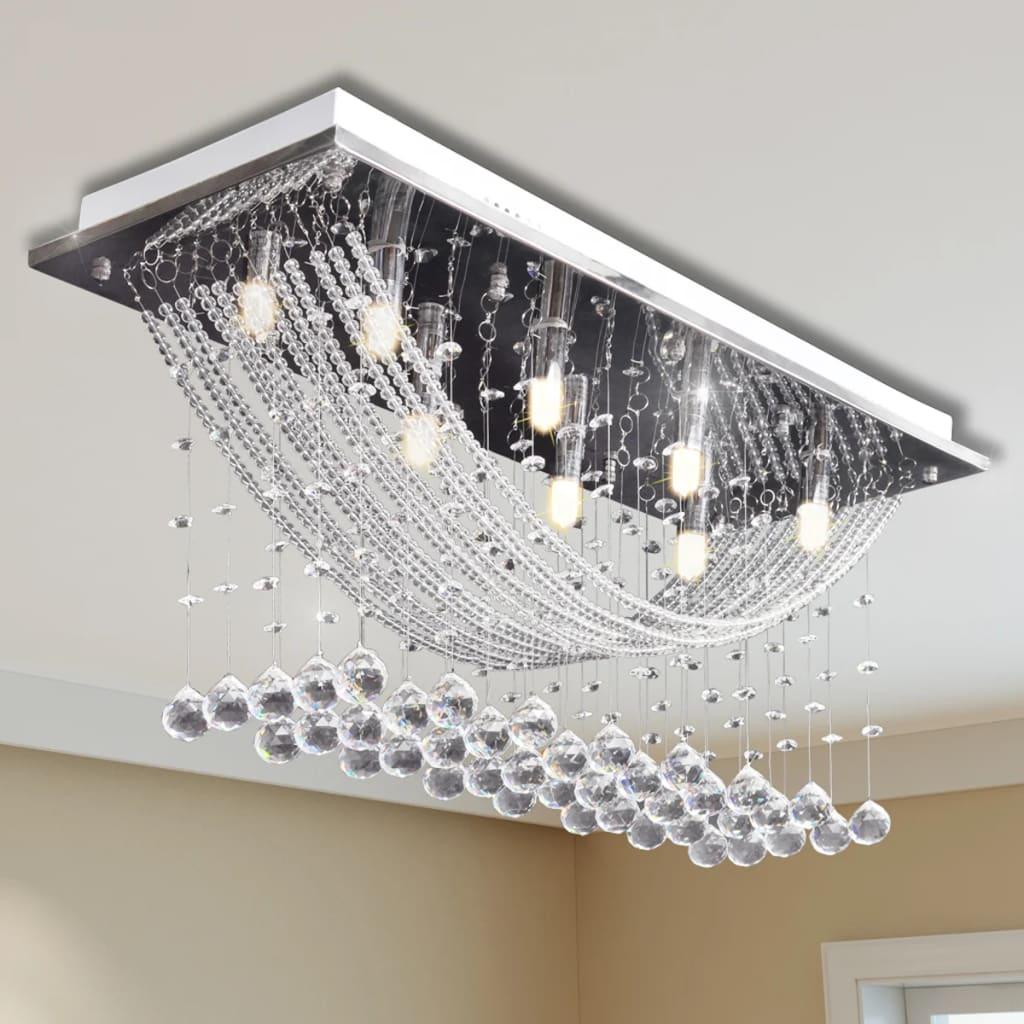 vidaXL Fehér Mennyezeti Lámpa, Csillogó Üveg Kristály Gyöngyök 8 x G9 29 cm