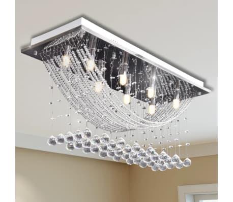 Fehér Mennyezeti Lámpa, Csillogó Üveg Kristály Gyöngyök 8 x G9 29 cm
